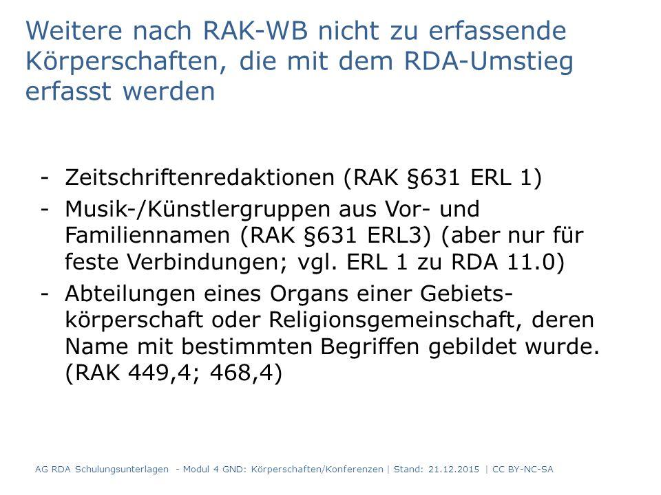 Untergeordnete Konferenzen Erläuterung zu RDA 11.2.2.14.6 Erläuterung 2 (geändert, erster Abschnitt ist erweitert): Ist der vollständige bevorzugte Name der übergeordneten Körperschaft im Namen der untergeordneten Körperschaft enthalten, erfassen Sie diese unselbstständig.