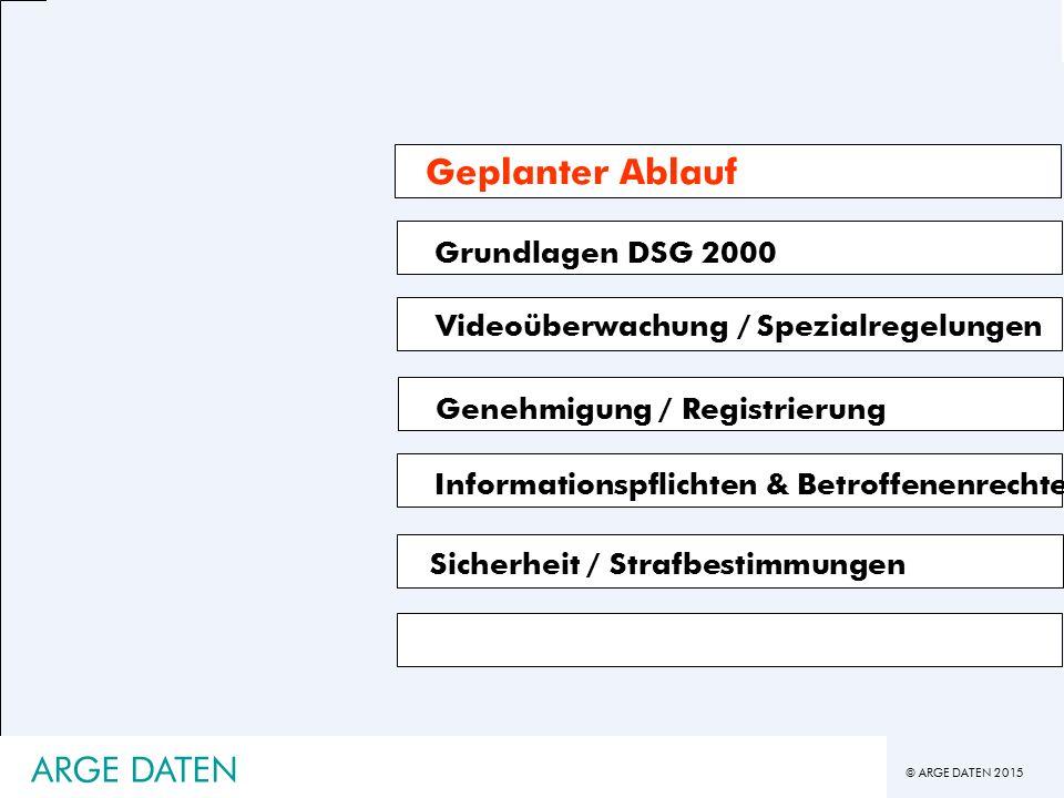 © ARGE DATEN 2015 ARGE DATEN Grundlagen DSG 2000 Videoüberwachung / Spezialregelungen Genehmigung / Registrierung Informationspflichten & Betroffenenrechte Geplanter Ablauf Sicherheit / Strafbestimmungen