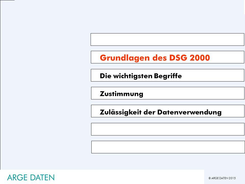 © ARGE DATEN 2015 ARGE DATEN Grundlagen des DSG 2000 Die wichtigsten Begriffe Zustimmung Zulässigkeit der Datenverwendung