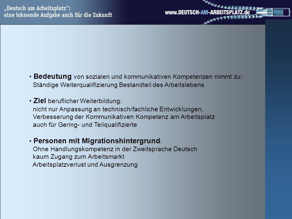 Bedeutung von sozialen und kommunikativen Kompetenzen nimmt zu: Ständige Weiterqualifizierung Bestandteil des Arbeitslebens Ziel beruflicher Weiterbildung: nicht nur Anpassung an technisch/fachliche Entwicklungen, Verbesserung der Kommunikativen Kompetenz am Arbeitsplatz auch für Gering- und Teilqualifizierte Personen mit Migrationshintergrund : Ohne Handlungskompetenz in der Zweitsprache Deutsch kaum Zugang zum Arbeitsmarkt Arbeitsplatzverlust und Ausgrenzung
