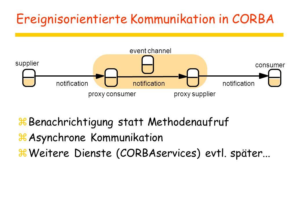Ereignisorientierte Kommunikation in CORBA zBenachrichtigung statt Methodenaufruf zAsynchrone Kommunikation zWeitere Dienste (CORBAservices) evtl.