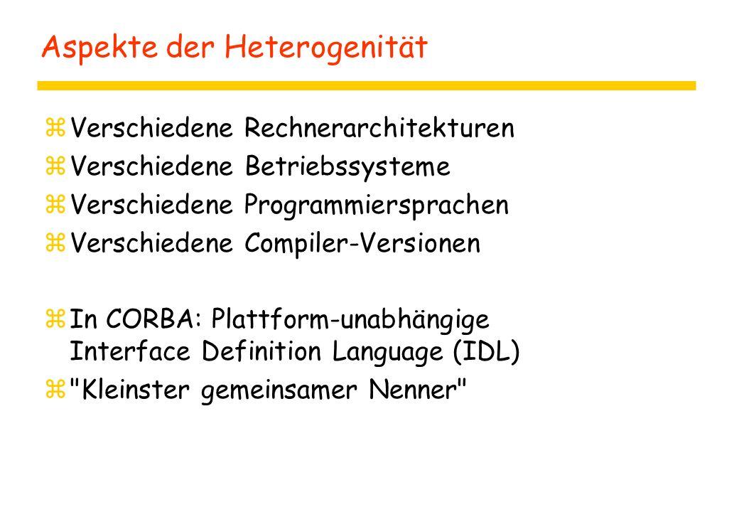 Aspekte der Heterogenität zVerschiedene Rechnerarchitekturen zVerschiedene Betriebssysteme zVerschiedene Programmiersprachen zVerschiedene Compiler-Versionen zIn CORBA: Plattform-unabhängige Interface Definition Language (IDL) z Kleinster gemeinsamer Nenner