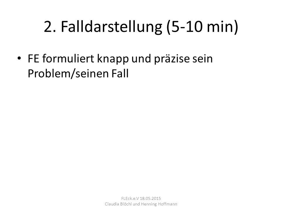 2. Falldarstellung (5-10 min) FE formuliert knapp und präzise sein Problem/seinen Fall FLEck.e.V 18.05.2015 Claudia Blöchl und Henning Hoffmann