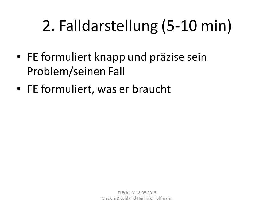 2. Falldarstellung (5-10 min) FE formuliert knapp und präzise sein Problem/seinen Fall FE formuliert, was er braucht FLEck.e.V 18.05.2015 Claudia Blöc