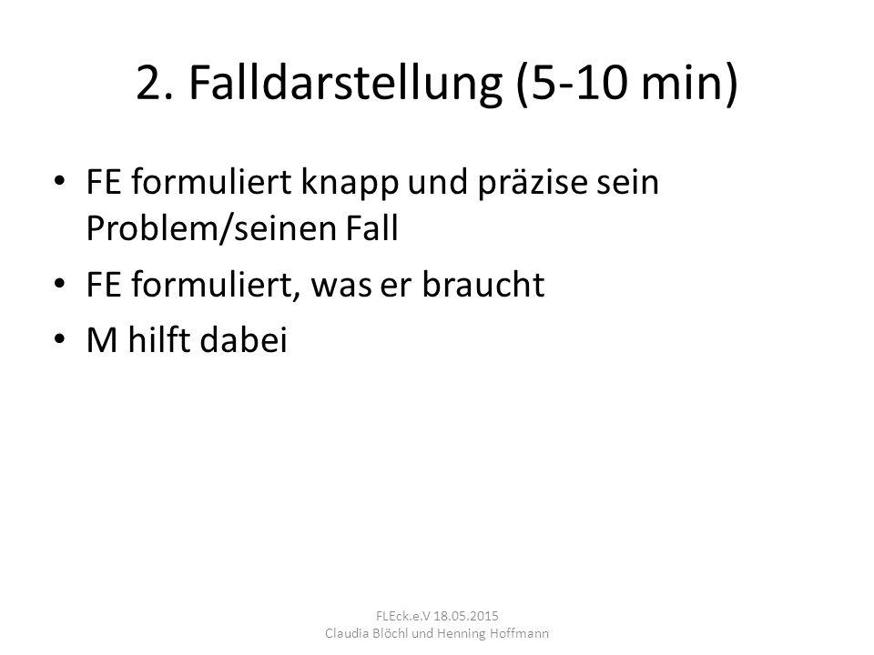 2. Falldarstellung (5-10 min) FE formuliert knapp und präzise sein Problem/seinen Fall FE formuliert, was er braucht M hilft dabei FLEck.e.V 18.05.201