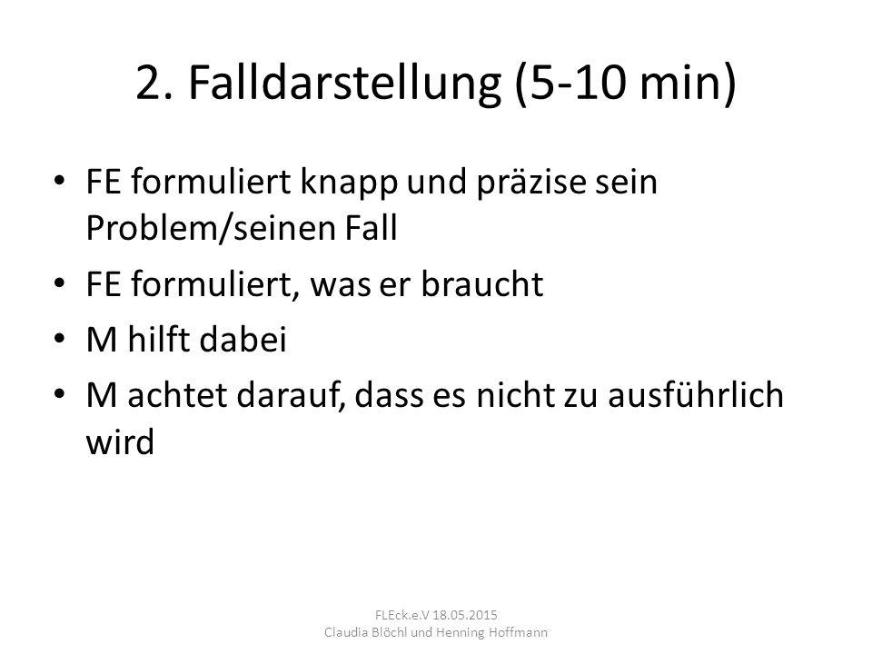 2. Falldarstellung (5-10 min) FE formuliert knapp und präzise sein Problem/seinen Fall FE formuliert, was er braucht M hilft dabei M achtet darauf, da