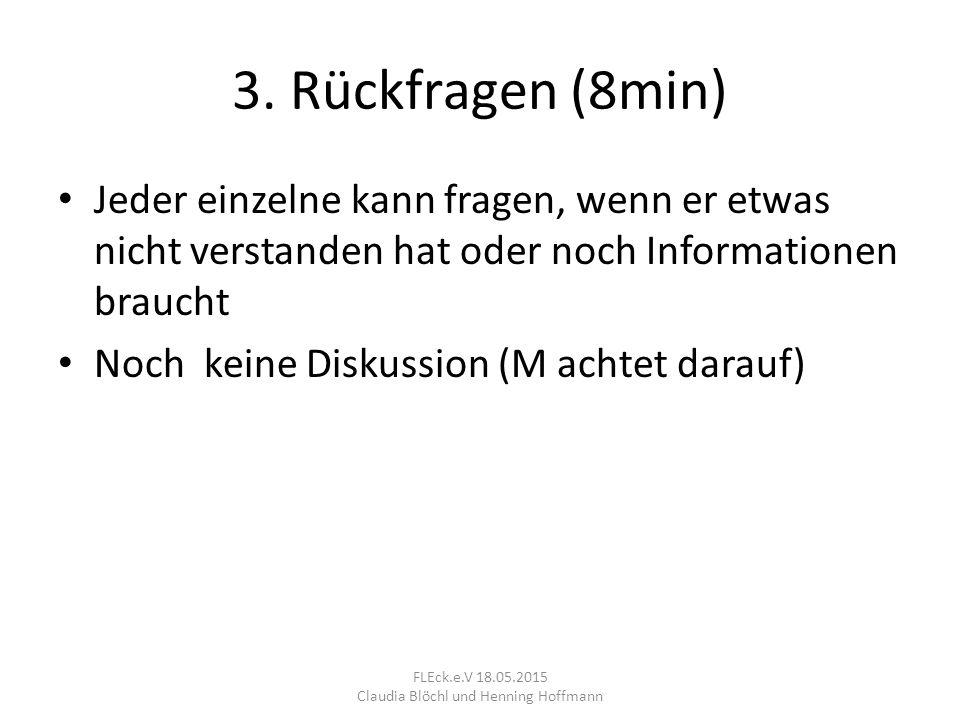 3. Rückfragen (8min) Jeder einzelne kann fragen, wenn er etwas nicht verstanden hat oder noch Informationen braucht Noch keine Diskussion (M achtet da