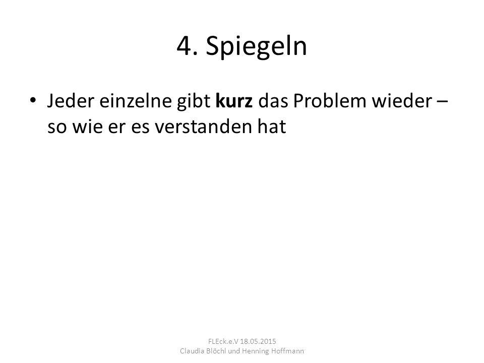 4. Spiegeln Jeder einzelne gibt kurz das Problem wieder – so wie er es verstanden hat FLEck.e.V 18.05.2015 Claudia Blöchl und Henning Hoffmann