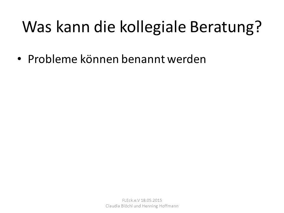 3. Rückfragen (8min) FLEck.e.V 18.05.2015 Claudia Blöchl und Henning Hoffmann