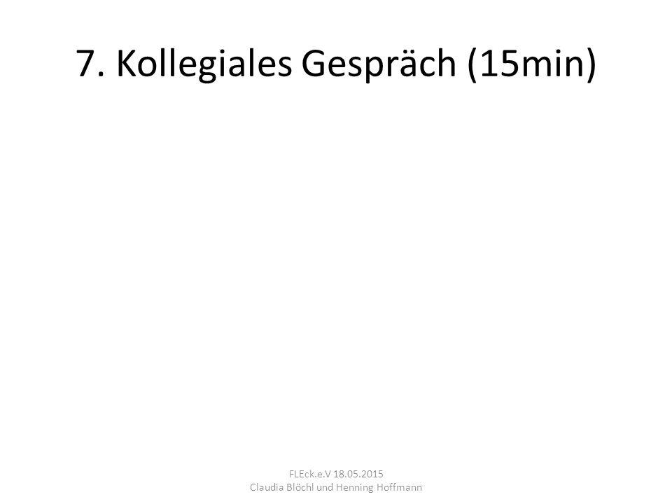 7. Kollegiales Gespräch (15min) FLEck.e.V 18.05.2015 Claudia Blöchl und Henning Hoffmann