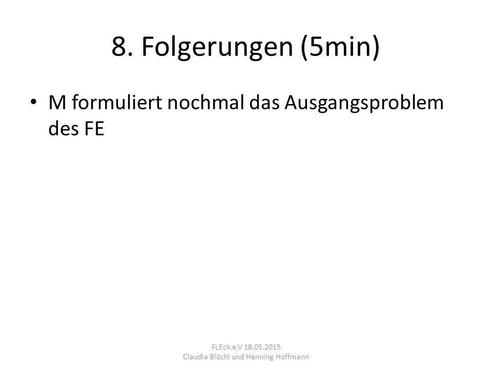 8. Folgerungen (5min) M formuliert nochmal das Ausgangsproblem des FE FLEck.e.V 18.05.2015 Claudia Blöchl und Henning Hoffmann