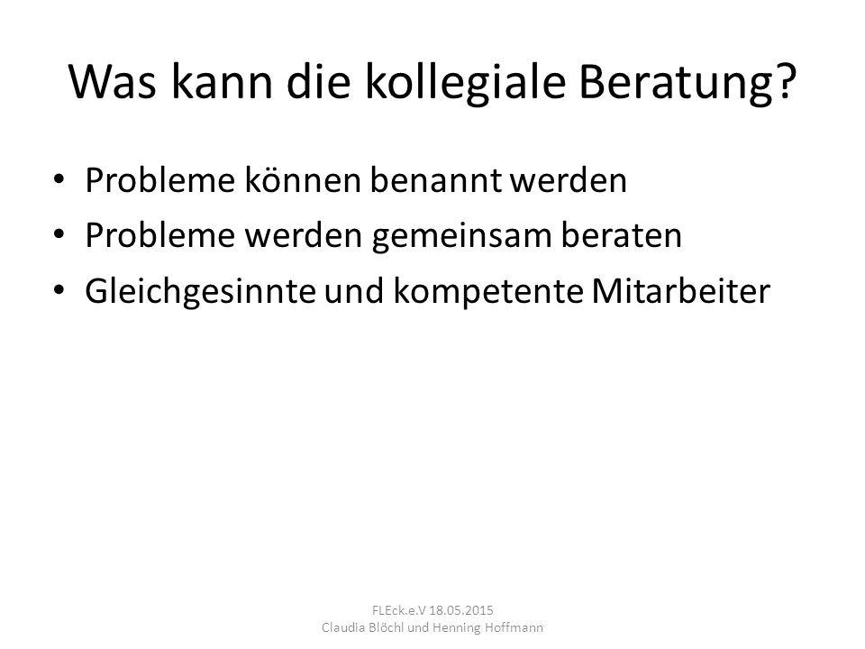 1. Rollenverteilung FLEck.e.V 18.05.2015 Claudia Blöchl und Henning Hoffmann