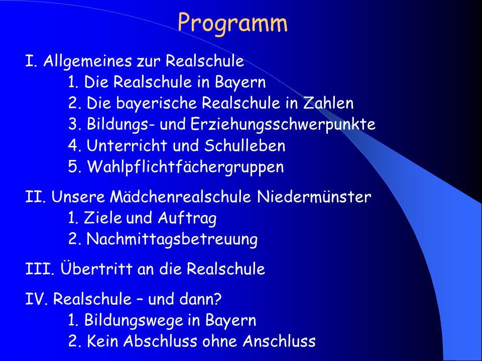 Programm I.Allgemeines zur Realschule 1. Die Realschule in Bayern 2.