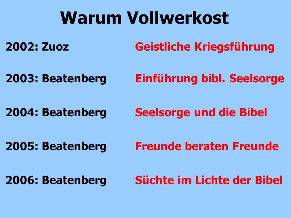 2002: Zuoz Geistliche Kriegsführung Warum Vollwerkost 2003: Beatenberg Einführung bibl. Seelsorge 2004: Beatenberg Seelsorge und die Bibel 2005: Beate
