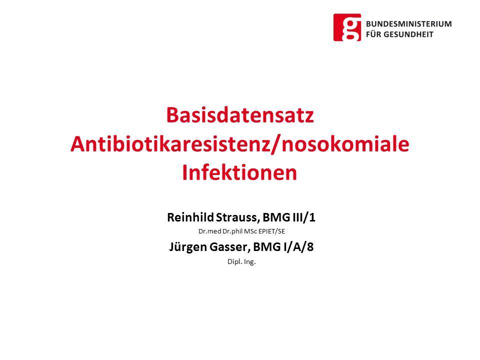 Basisdatensatz Antibiotikaresistenz/nosokomiale Infektionen Reinhild Strauss, BMG III/1 Dr.med Dr.phil MSc EPIET/SE Jürgen Gasser, BMG I/A/8 Dipl.