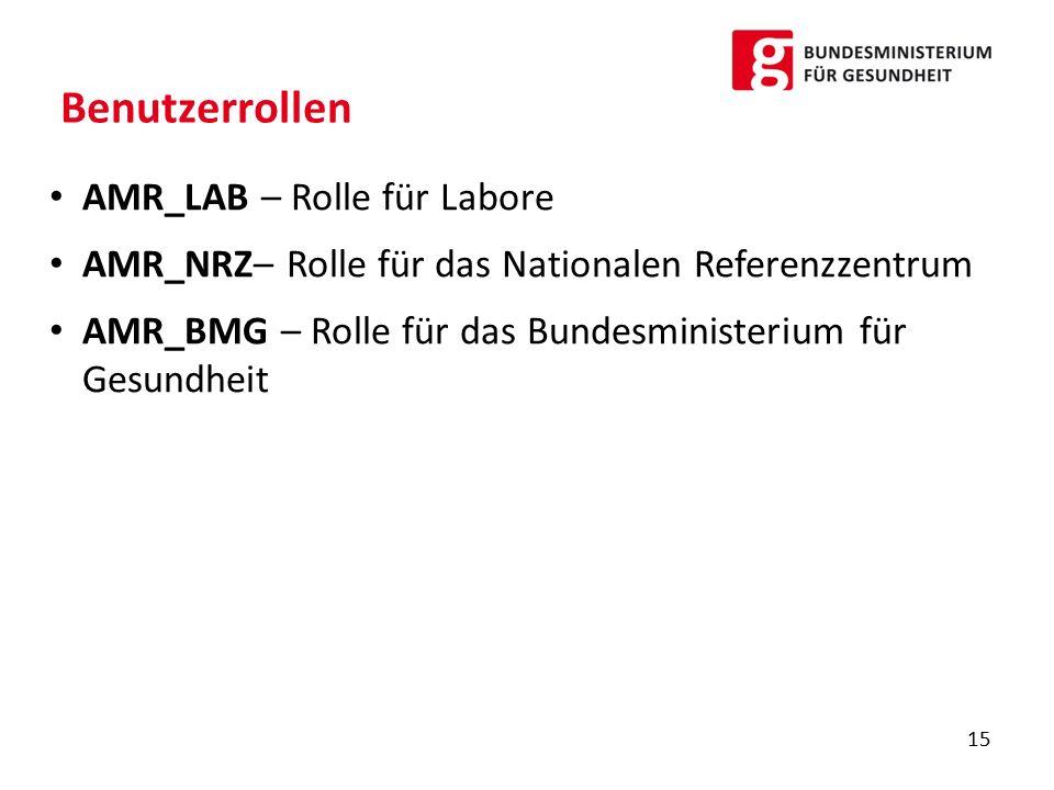 Benutzerrollen AMR_LAB – Rolle für Labore AMR_NRZ– Rolle für das Nationalen Referenzzentrum AMR_BMG – Rolle für das Bundesministerium für Gesundheit 15