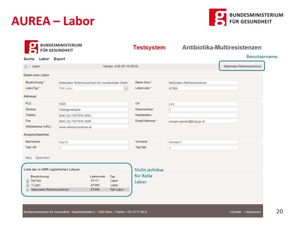 AUREA – Labor 20 Nicht sichtbar für Rolle Labor Benutzername