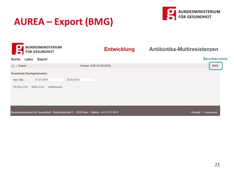 AUREA – Export (BMG) 21 Benutzername