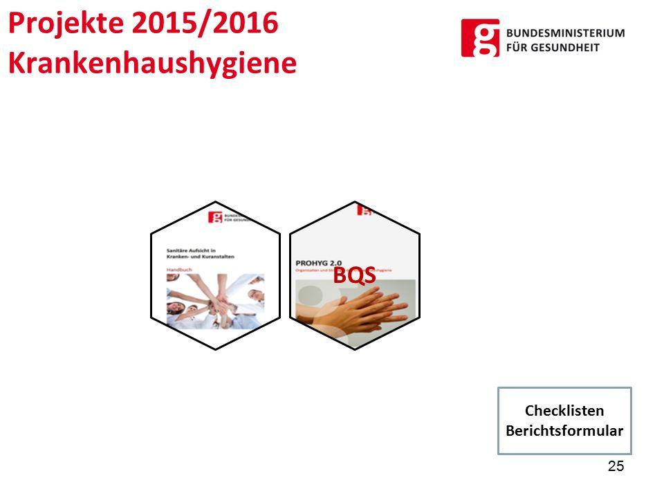 Projekte 2015/2016 Krankenhaushygiene BQS 25 Checklisten Berichtsformular