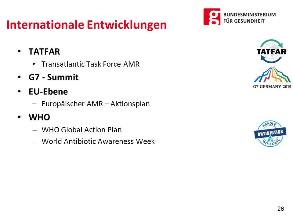 Internationale Entwicklungen TATFAR Transatlantic Task Force AMR G7 - Summit EU-Ebene –Europäischer AMR – Aktionsplan WHO  WHO Global Action Plan  World Antibiotic Awareness Week 26