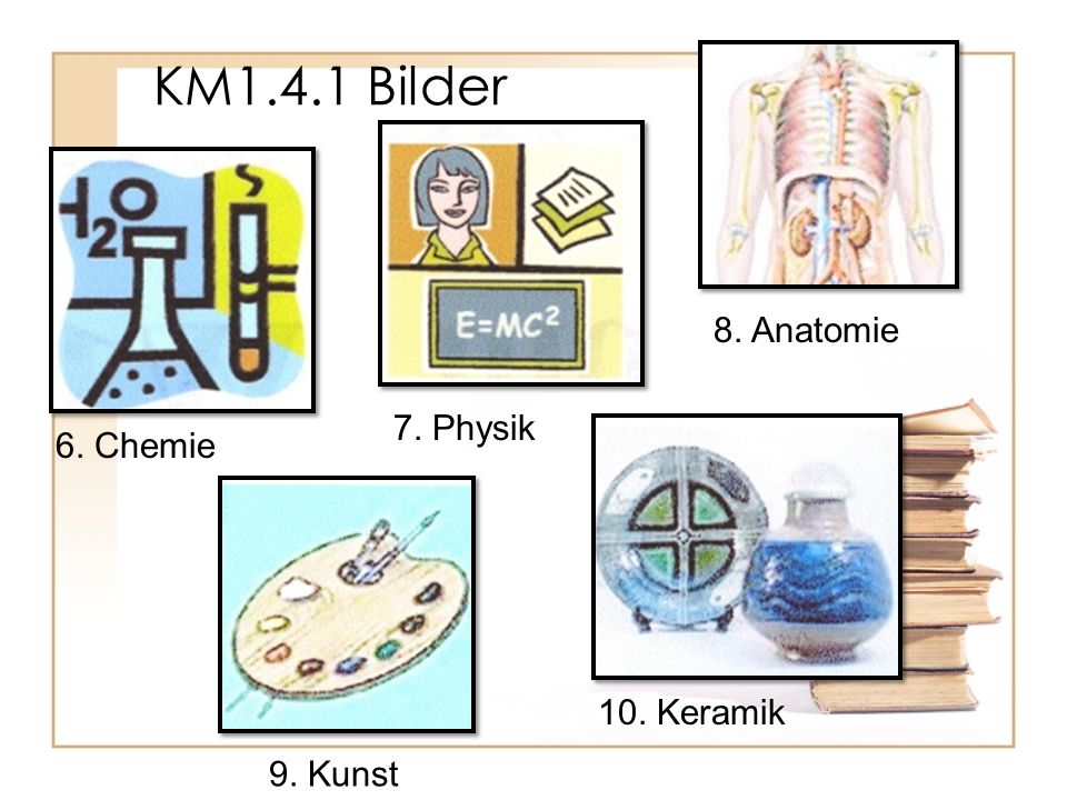 6. Chemie 7. Physik 8. Anatomie 9. Kunst 10. Keramik