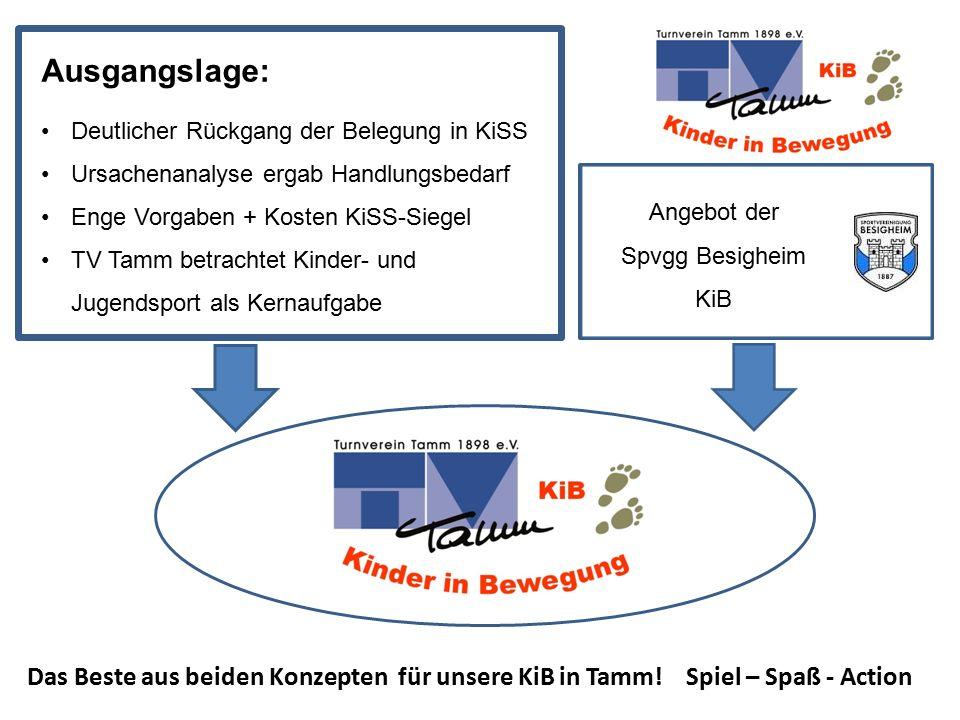 Ausgangslage: Deutlicher Rückgang der Belegung in KiSS Ursachenanalyse ergab Handlungsbedarf Enge Vorgaben + Kosten KiSS-Siegel TV Tamm betrachtet Kin