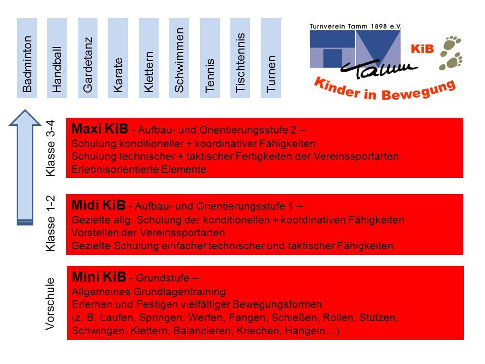 Trainingszeiten Mini-KiB Mo oder Fr 15:15 bis 16:00 Uhr Midi-KiB Mo und Fr 16:00 bis 17:00 Uhr Maxi-KiB Mo und Fr 17:00 bis 18:00 Uhr Gebühren (zusätzlich zum Vereinsbeitrag) Mini-KiB (45 min./Woche) 1.Kind mtl.