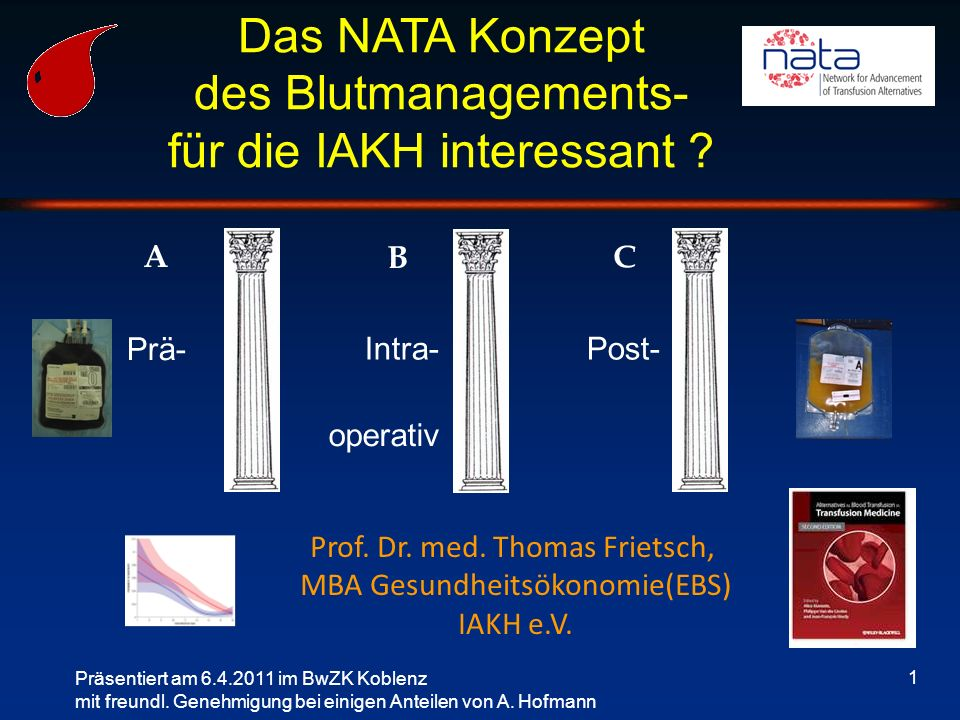 1 Das NATA Konzept des Blutmanagements- für die IAKH interessant ? Präsentiert am 6.4.2011 im BwZK Koblenz mit freundl. Genehmigung bei einigen Anteil