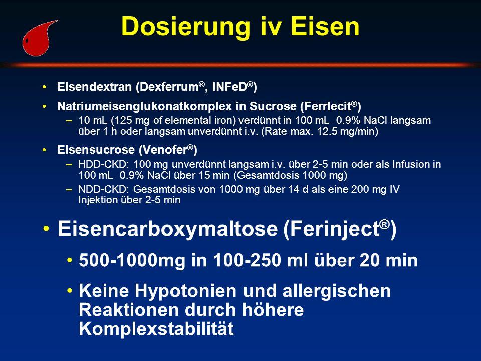 Dosierung iv Eisen Eisendextran (Dexferrum ®, INFeD ® ) Natriumeisenglukonatkomplex in Sucrose (Ferrlecit ® ) –10 mL (125 mg of elemental iron) verdün