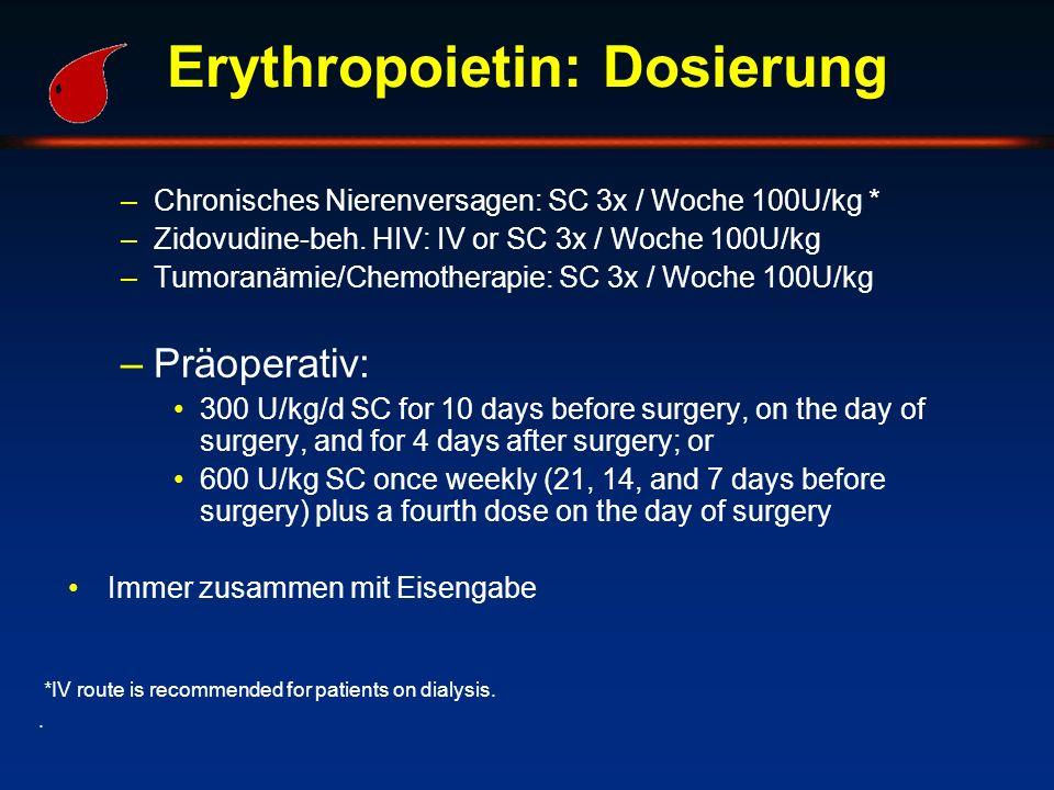 Erythropoietin: Dosierung –Chronisches Nierenversagen: SC 3x / Woche 100U/kg * –Zidovudine-beh. HIV: IV or SC 3x / Woche 100U/kg –Tumoranämie/Chemothe