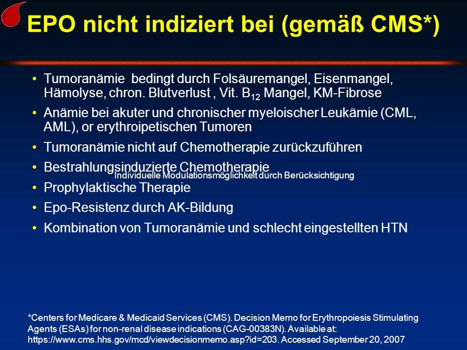 EPO nicht indiziert bei (gemäß CMS*) Tumoranämie bedingt durch Folsäuremangel, Eisenmangel, Hämolyse, chron. Blutverlust, Vit. B 12 Mangel, KM-Fibrose