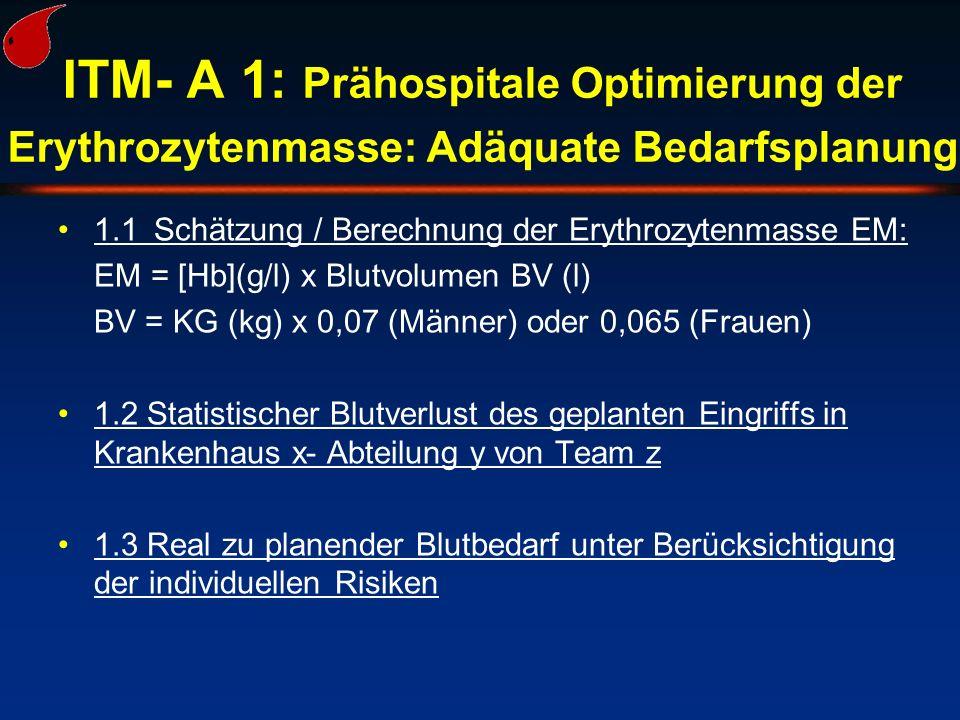 ITM- A 1: Prähospitale Optimierung der Erythrozytenmasse: Adäquate Bedarfsplanung 1.1Schätzung / Berechnung der Erythrozytenmasse EM: EM = [Hb](g/l) x