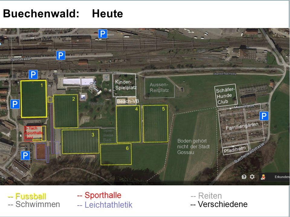 --Fussball 4 2 1 5 3 6 Freibad Kinder- Spielplatz Beach-VB Aussen- Reitplatz Schäfer- Hunde Club Pfadiheim Familiengärten Reitstall 3- fach Sporthalle