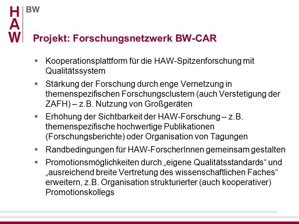 Projekt: Forschungsnetzwerk BW-CAR  Kooperationsplattform für die HAW-Spitzenforschung mit Qualitätssystem  Stärkung der Forschung durch enge Vernetzung in themenspezifischen Forschungsclustern (auch Verstetigung der ZAFH) – z.B.