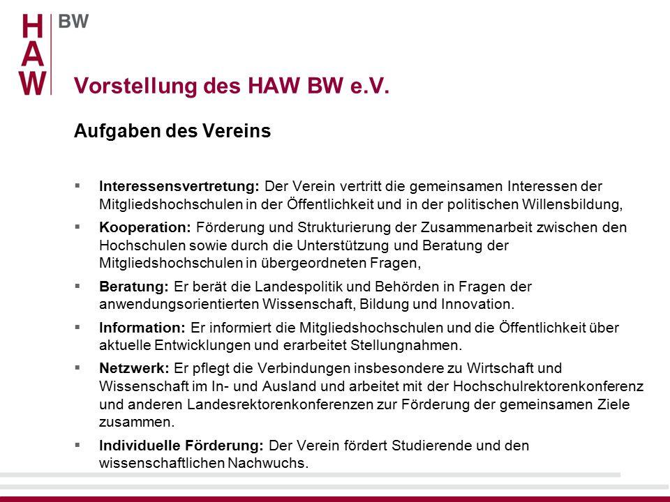 Vorstellung des HAW BW e.V. – Auftreten Zentrales Portal: www.hochschulen-bw.de