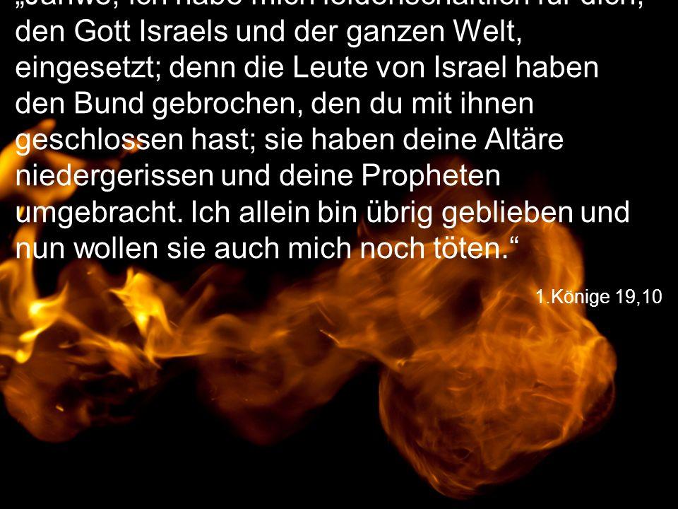 """1.Könige 19,10 """"Jahwe, ich habe mich leidenschaftlich für dich, den Gott Israels und der ganzen Welt, eingesetzt; denn die Leute von Israel haben den Bund gebrochen, den du mit ihnen geschlossen hast; sie haben deine Altäre niedergerissen und deine Propheten umgebracht."""