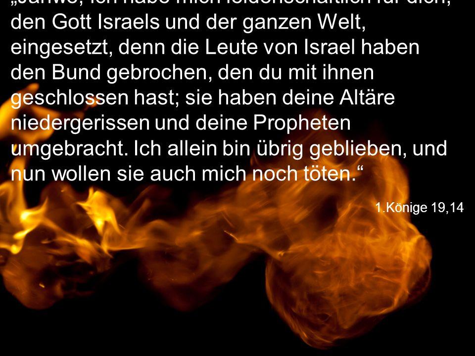 """1.Könige 19,14 """"Jahwe, ich habe mich leidenschaftlich für dich, den Gott Israels und der ganzen Welt, eingesetzt, denn die Leute von Israel haben den Bund gebrochen, den du mit ihnen geschlossen hast; sie haben deine Altäre niedergerissen und deine Propheten umgebracht."""