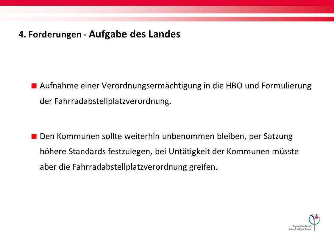 4. Forderungen - Aufgabe des Landes Aufnahme einer Verordnungsermächtigung in die HBO und Formulierung der Fahrradabstellplatzverordnung. Den Kommunen