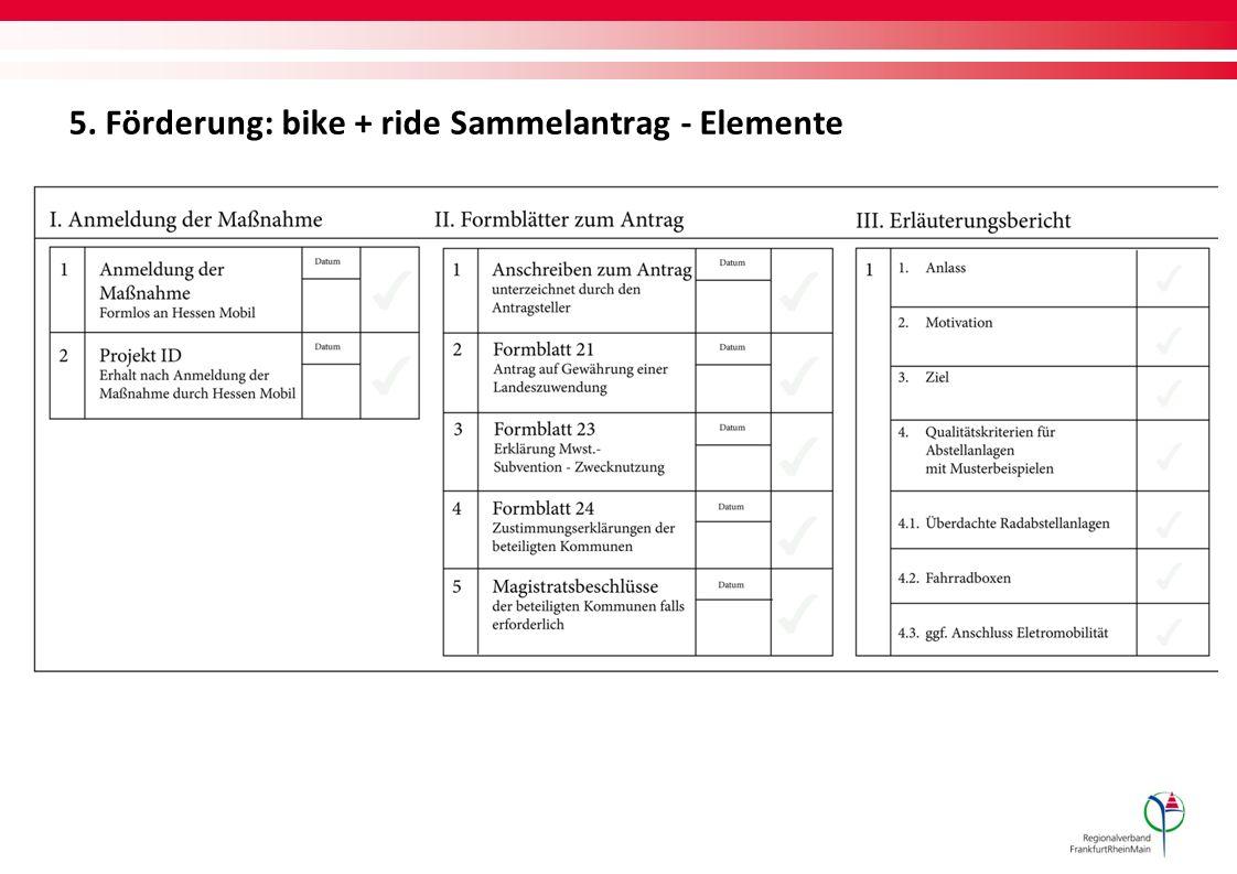 5. Förderung: bike + ride Sammelantrag - Elemente