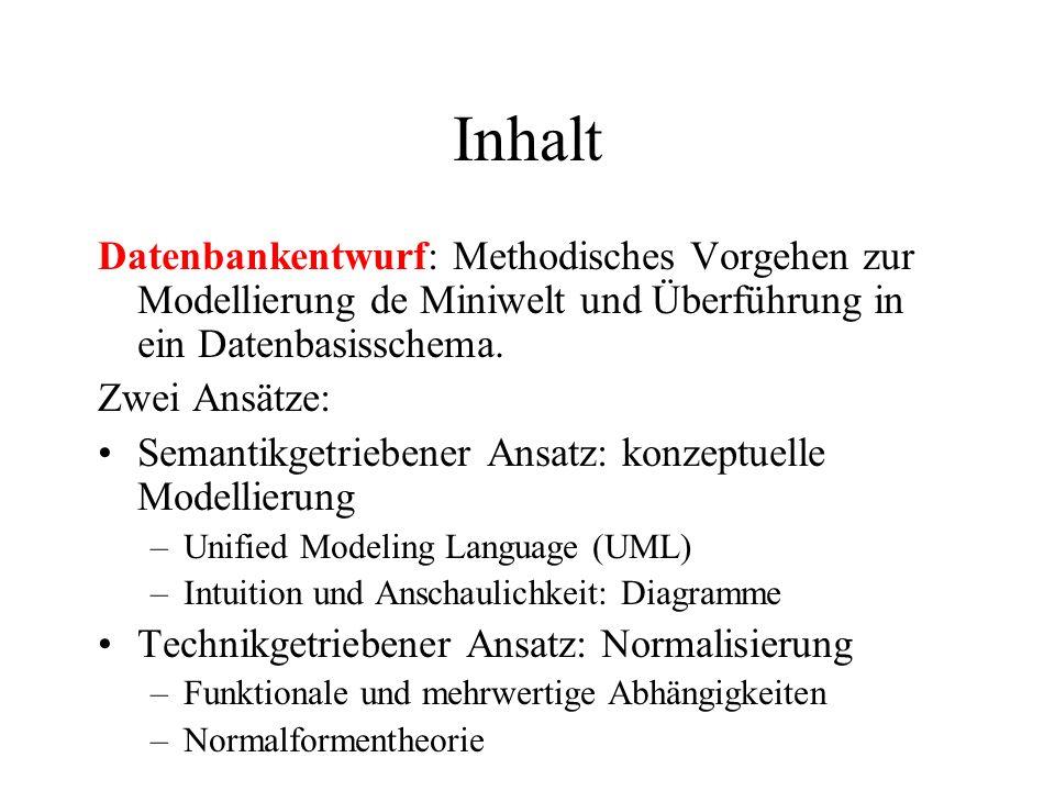 Inhalt Datenbankentwurf: Methodisches Vorgehen zur Modellierung de Miniwelt und Überführung in ein Datenbasisschema. Zwei Ansätze: Semantikgetriebener