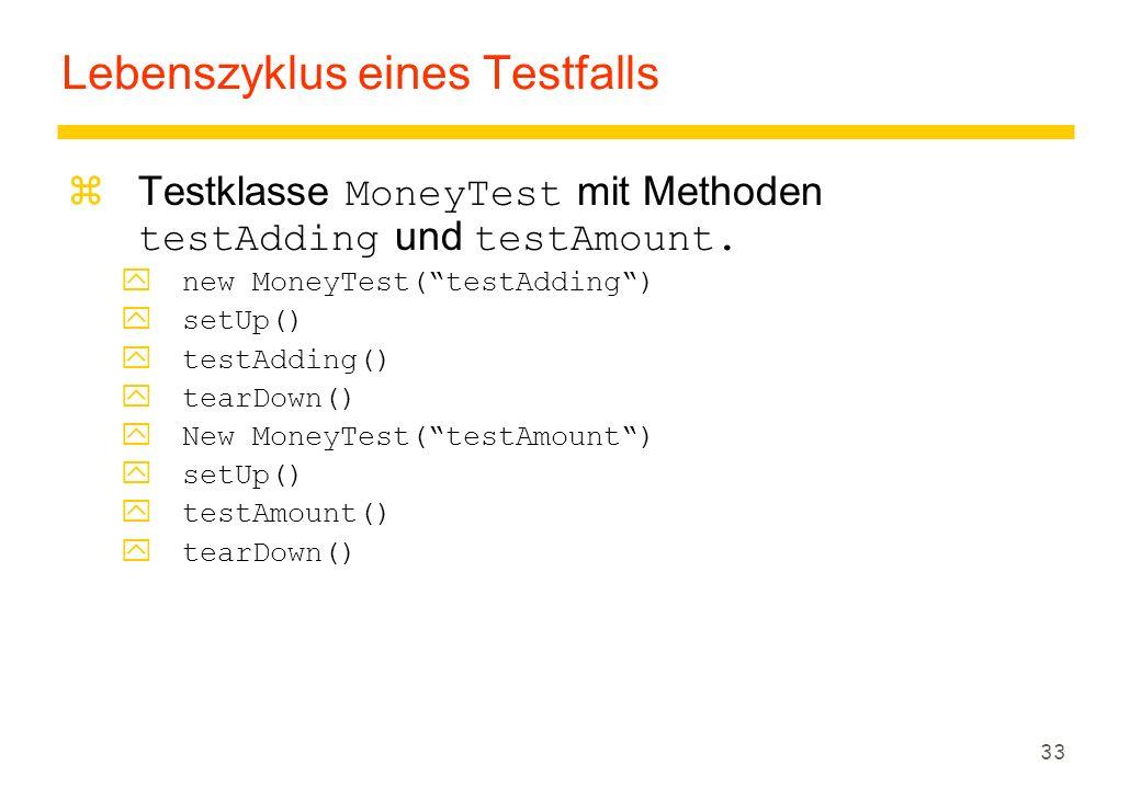"33 Lebenszyklus eines Testfalls  Testklasse MoneyTest mit Methoden testAdding und testAmount. ynew MoneyTest(""testAdding"") ysetUp() ytestAdding() yte"