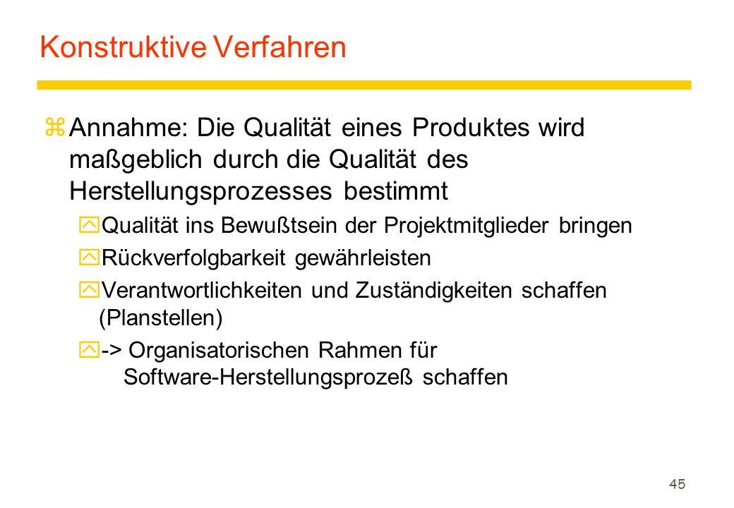 45 Konstruktive Verfahren zAnnahme: Die Qualität eines Produktes wird maßgeblich durch die Qualität des Herstellungsprozesses bestimmt yQualität ins B