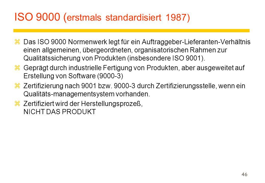 46 ISO 9000 ( erstmals standardisiert 1987) zDas ISO 9000 Normenwerk legt für ein Auftraggeber-Lieferanten-Verhältnis einen allgemeinen, übergeordnete