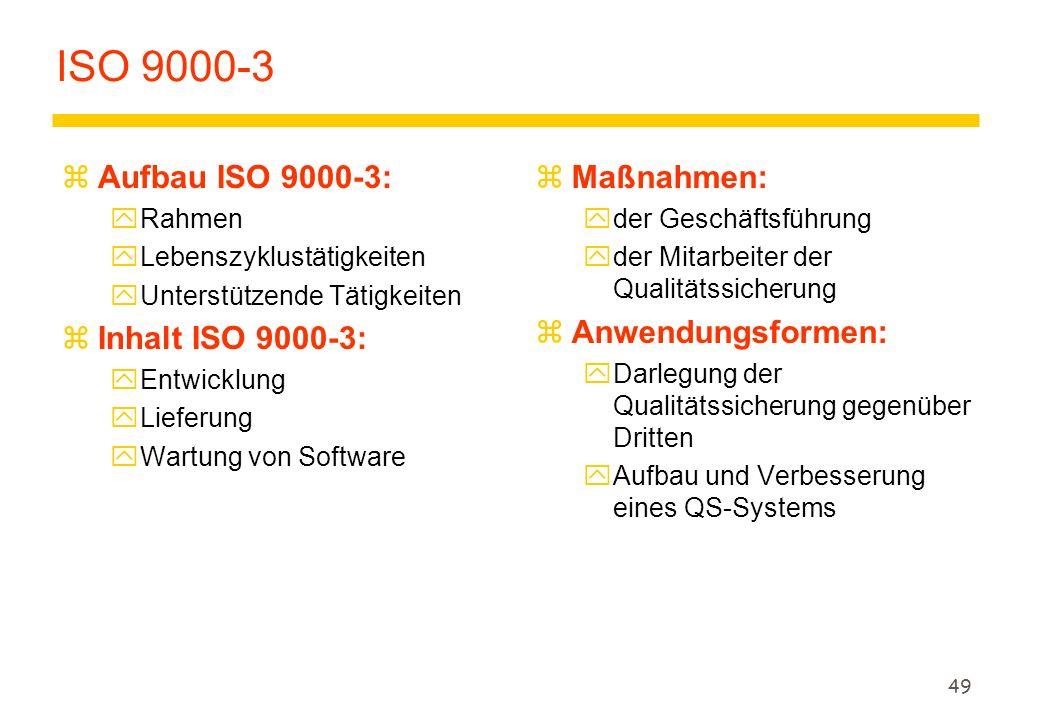 49 ISO 9000-3 zAufbau ISO 9000-3: yRahmen yLebenszyklustätigkeiten yUnterstützende Tätigkeiten zInhalt ISO 9000-3: yEntwicklung yLieferung yWartung vo