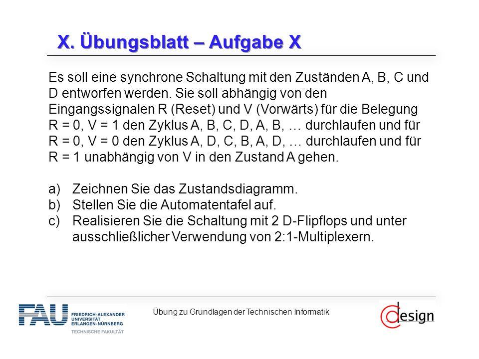 X. Übungsblatt – Aufgabe X Es soll eine synchrone Schaltung mit den Zuständen A, B, C und D entworfen werden. Sie soll abhängig von den Eingangssignal
