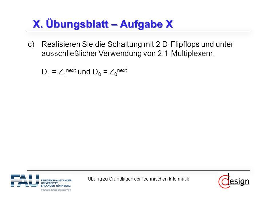 X. Übungsblatt – Aufgabe X c)Realisieren Sie die Schaltung mit 2 D-Flipflops und unter ausschließlicher Verwendung von 2:1-Multiplexern. D 1 = Z 1 nex