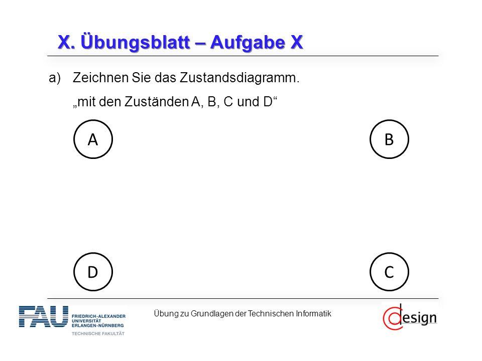 X. Übungsblatt – Aufgabe X a)Zeichnen Sie das Zustandsdiagramm.
