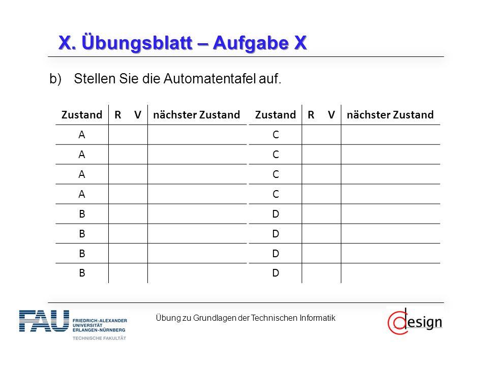 X. Übungsblatt – Aufgabe X b)Stellen Sie die Automatentafel auf.