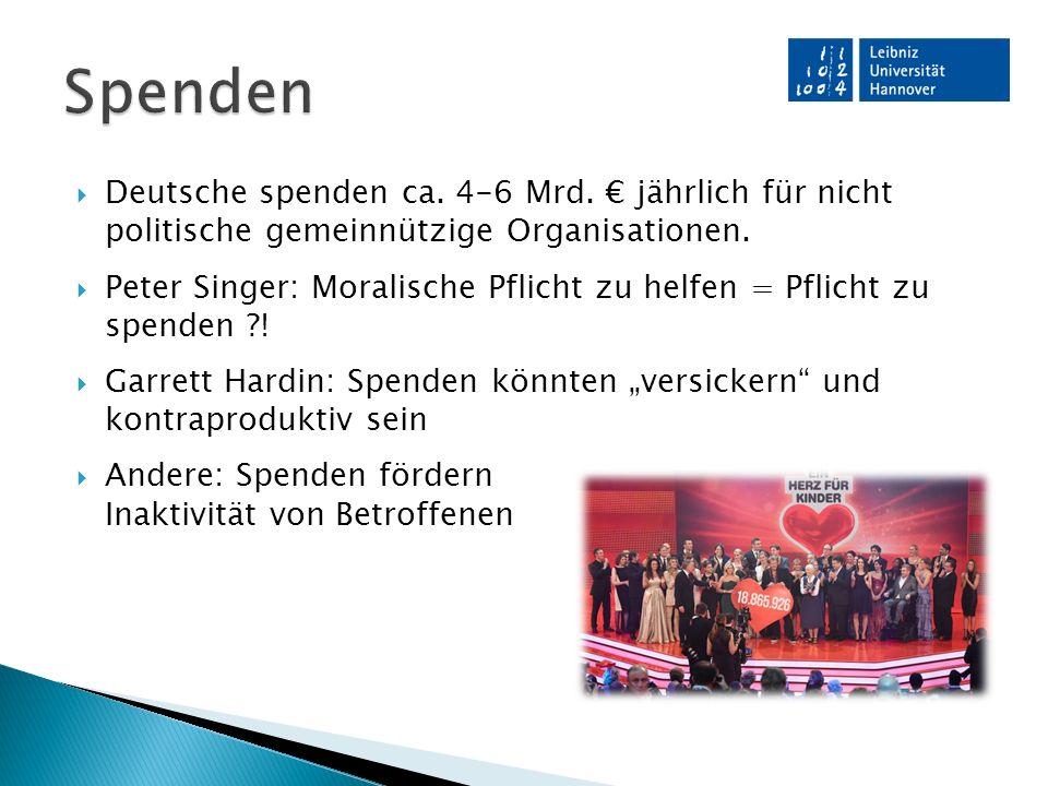  Deutsche spenden ca. 4-6 Mrd. € jährlich für nicht politische gemeinnützige Organisationen.