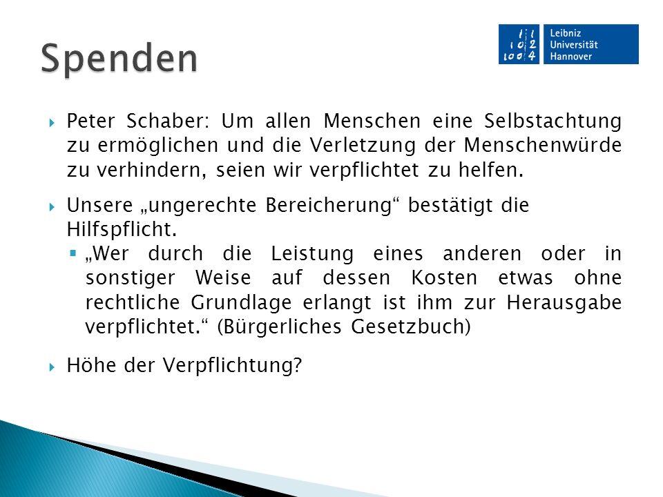  Peter Schaber: Um allen Menschen eine Selbstachtung zu ermöglichen und die Verletzung der Menschenwürde zu verhindern, seien wir verpflichtet zu helfen.